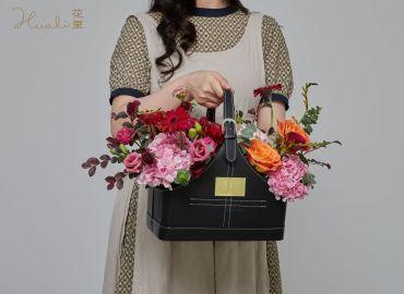 【零基础花艺学习】复古色中秋鲜花提盒,贺团圆美满