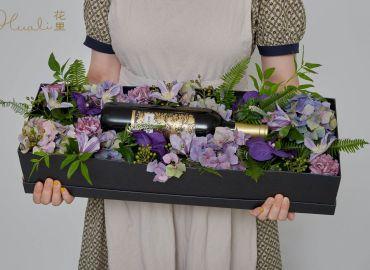 【零基础花艺学习】高端精品红酒花盒,清雅也温柔