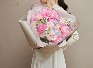 【零基础花艺教学】母亲节超仙芍药花束,圆一个粉色的梦
